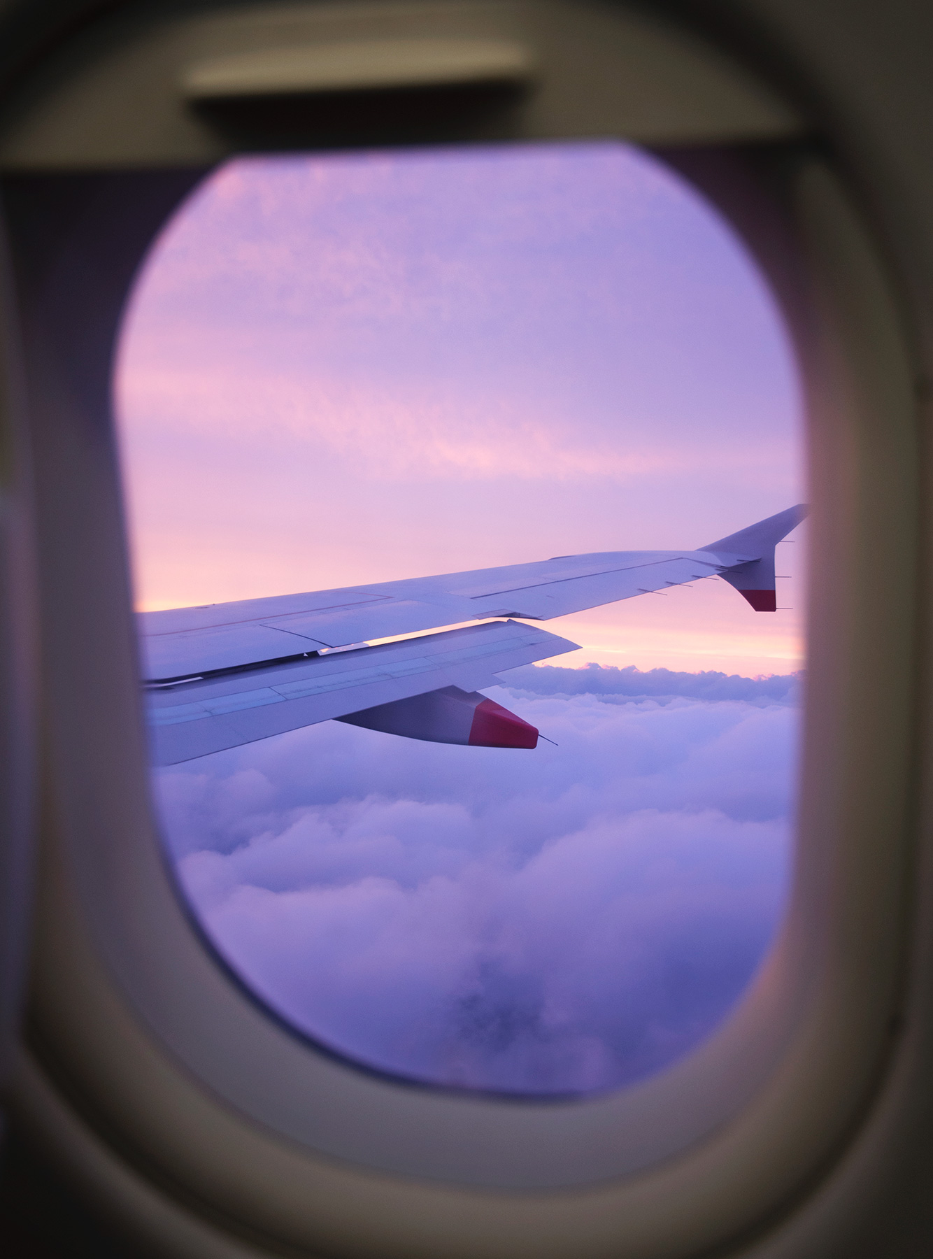 Purple sunset in plane window