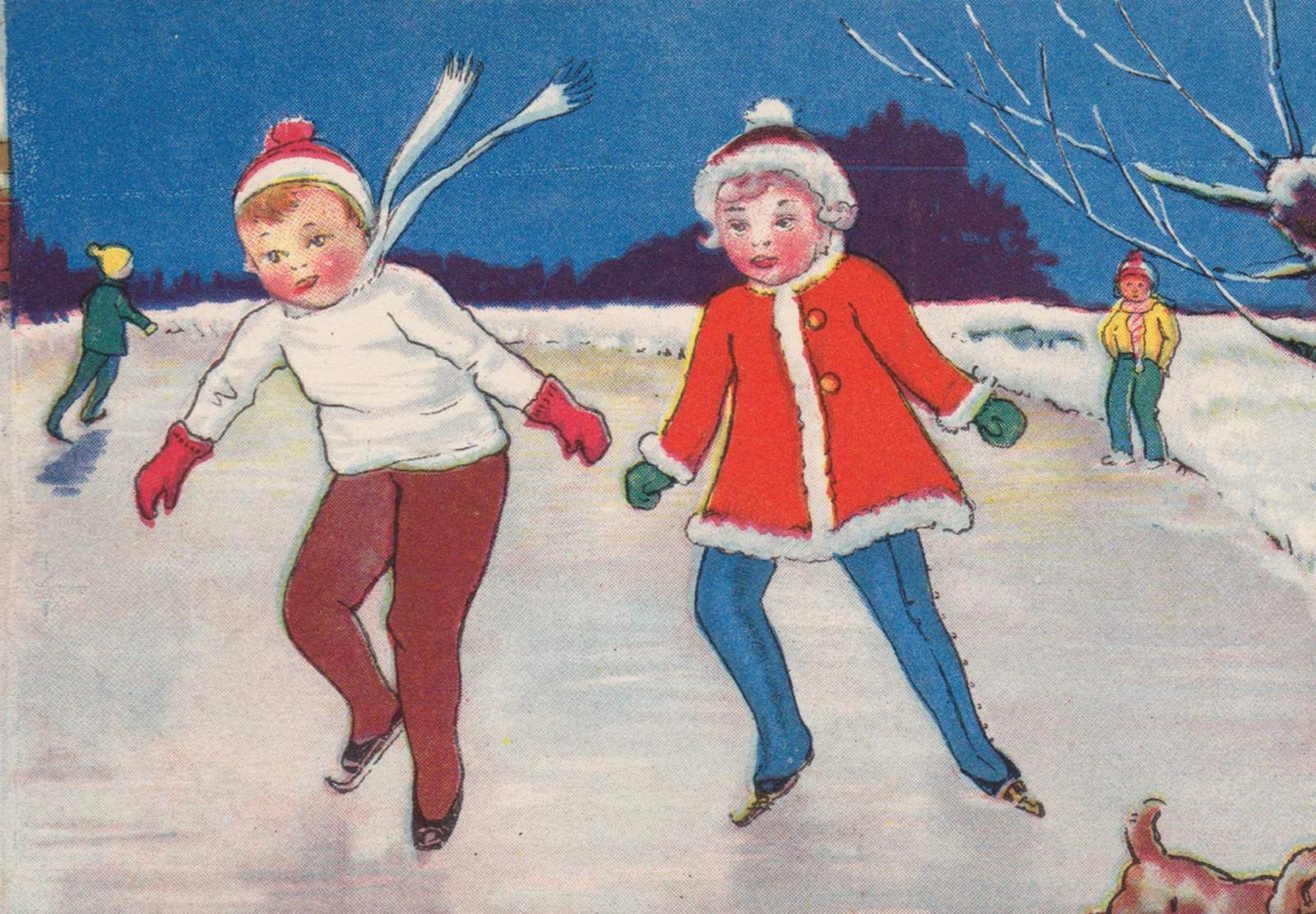 Old ice skating illustration