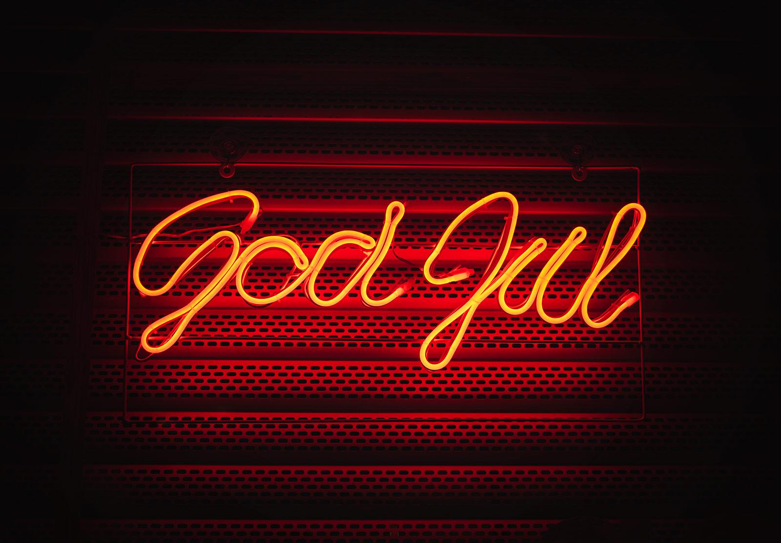 God Jul neon sign