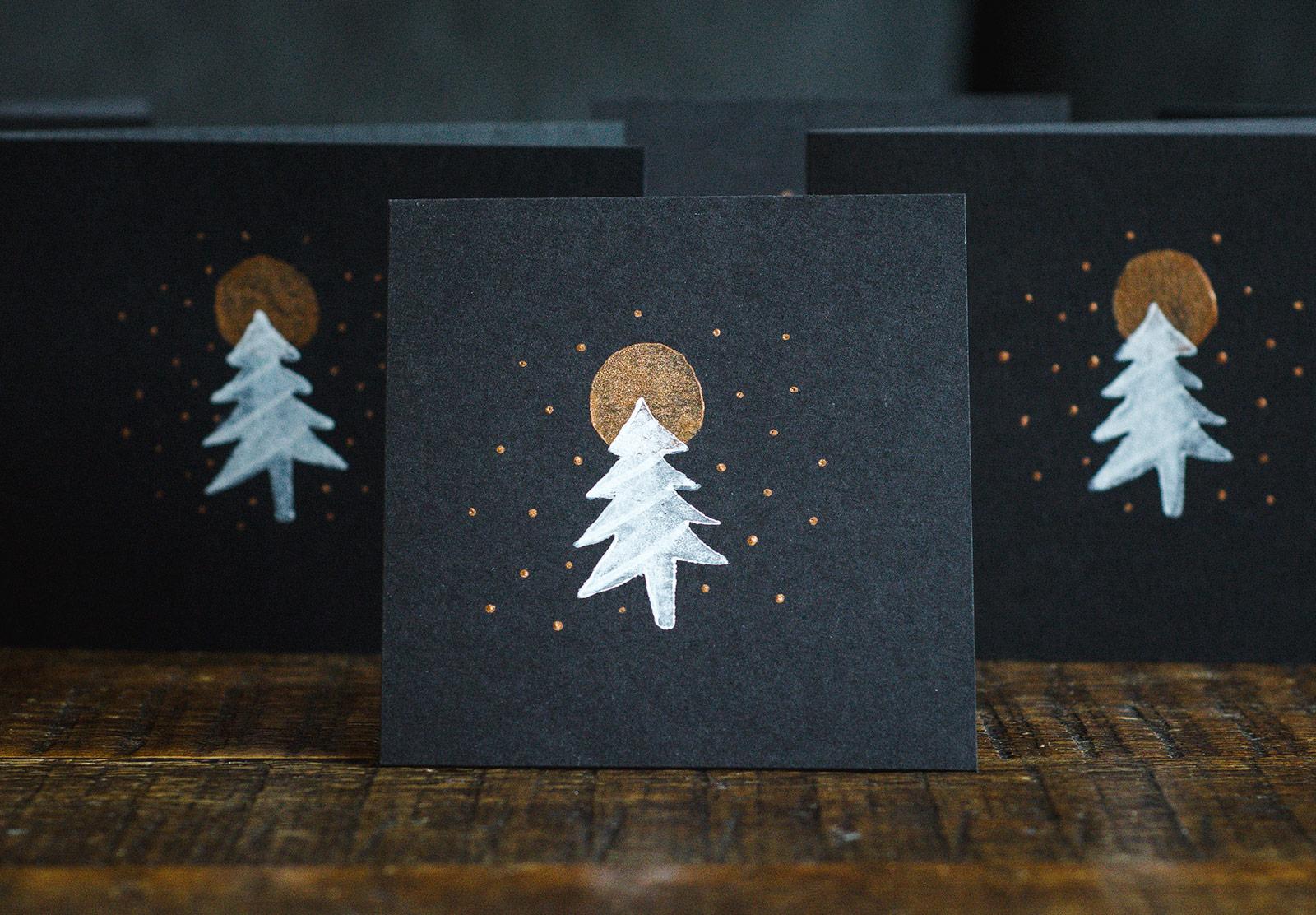 Tree print on card