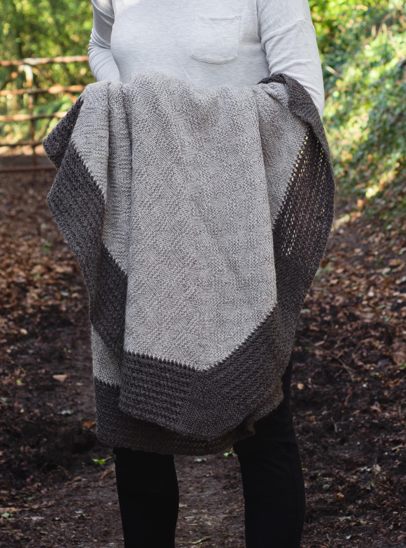 Closeup of knitted diamonds
