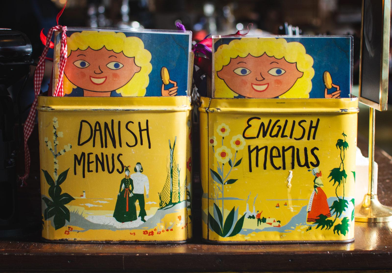 Menus in tins