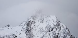 Snow and mist on mountain
