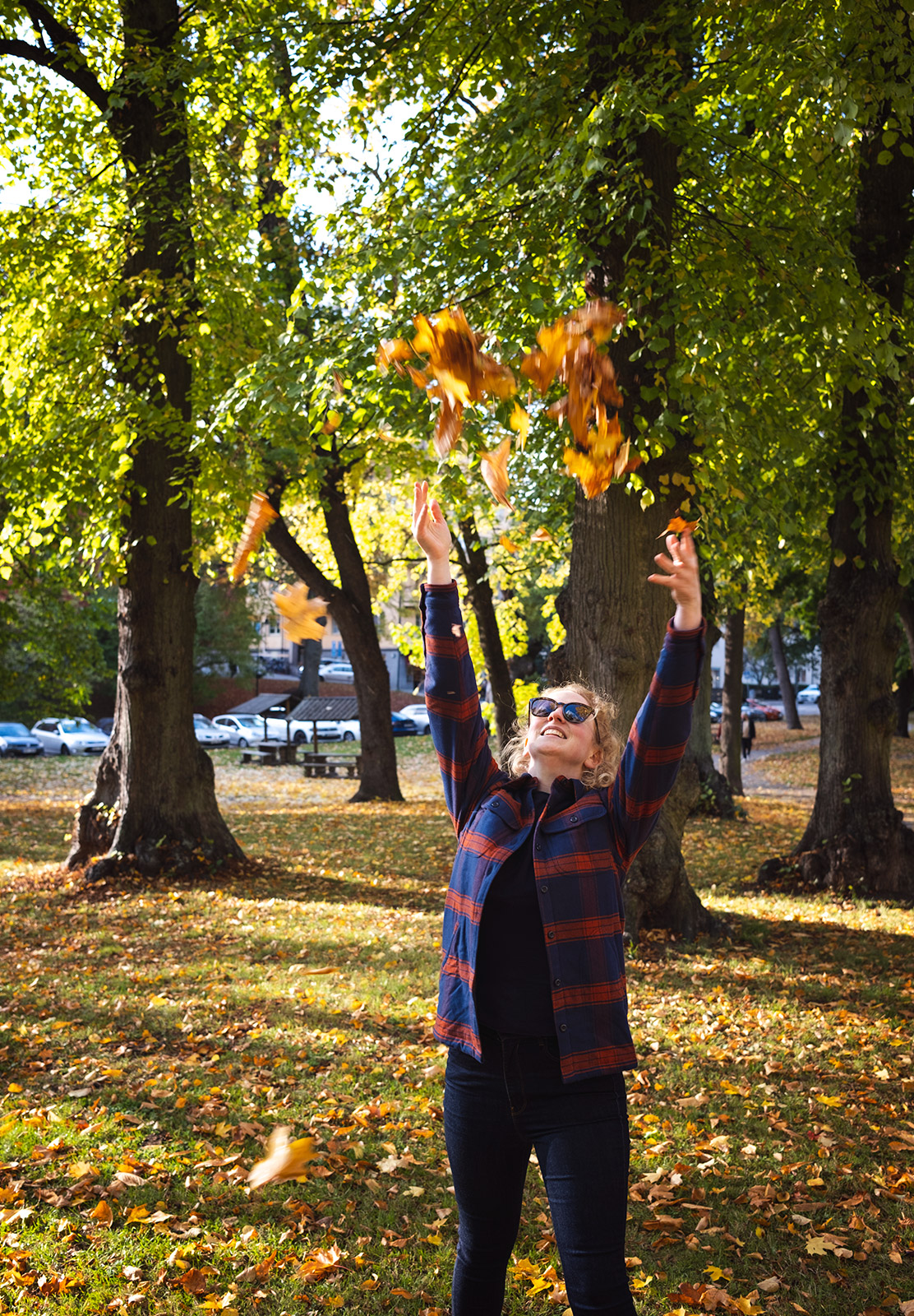 Throwing leaves in the air