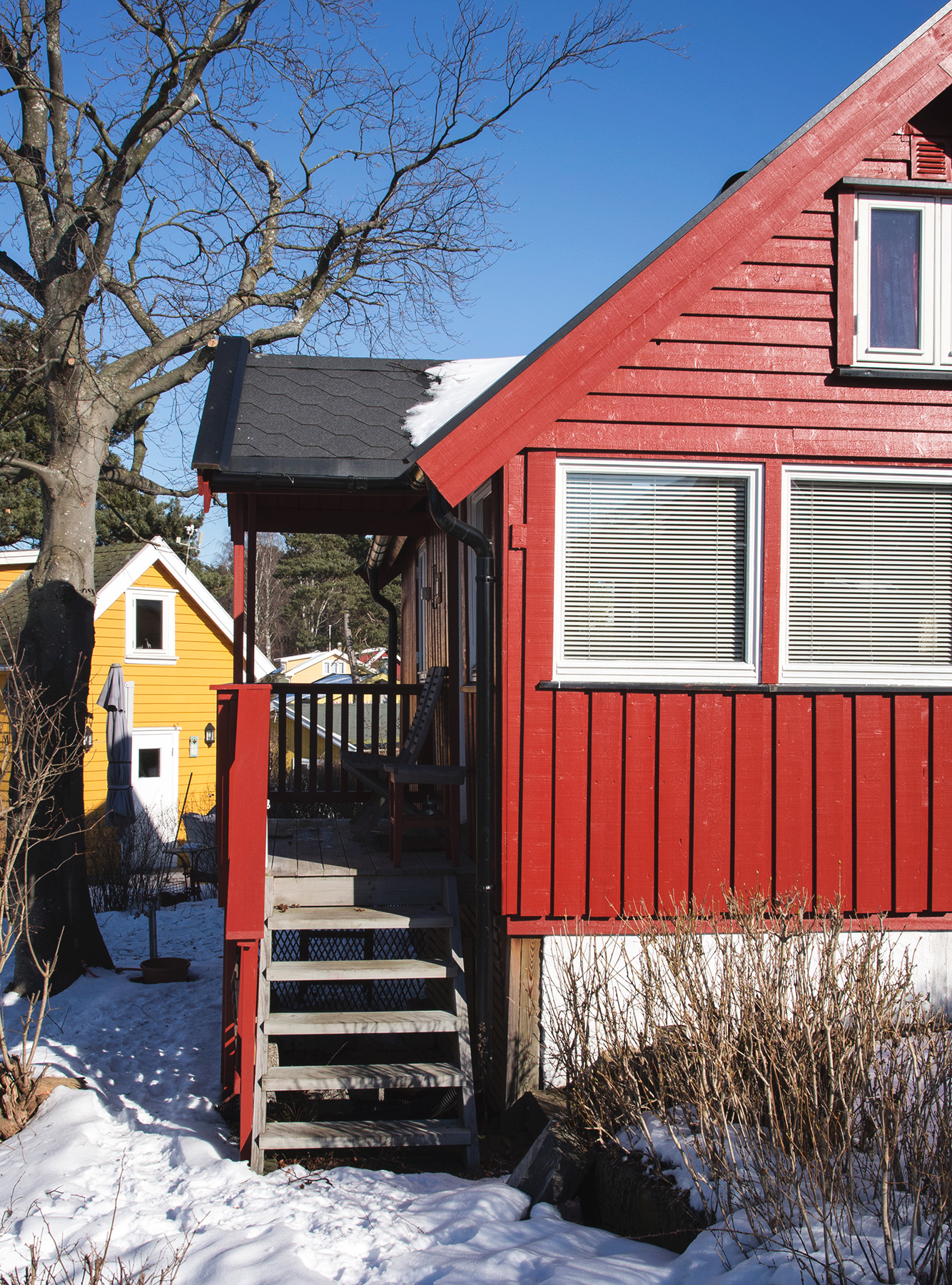 Red wooden porch