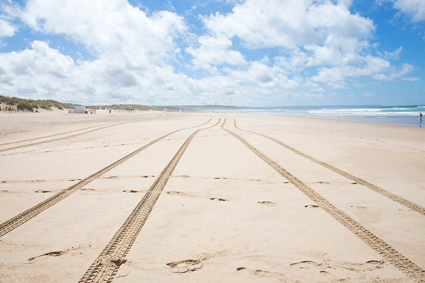 Tyre tracks on sand