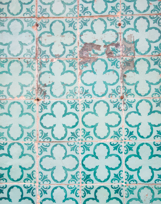 Turquoise geometric tiles
