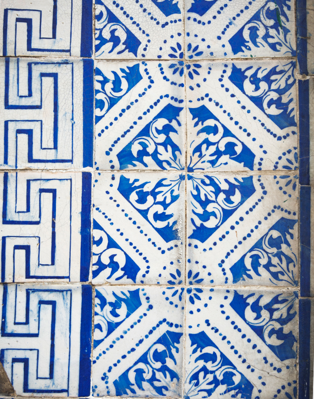 Mismatched blue and white tiles
