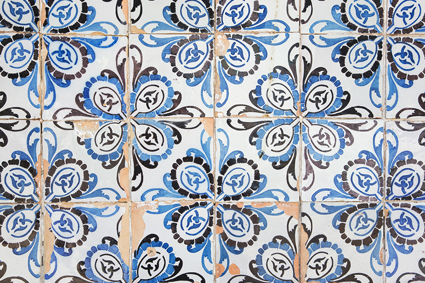 Blue and black floral tiles