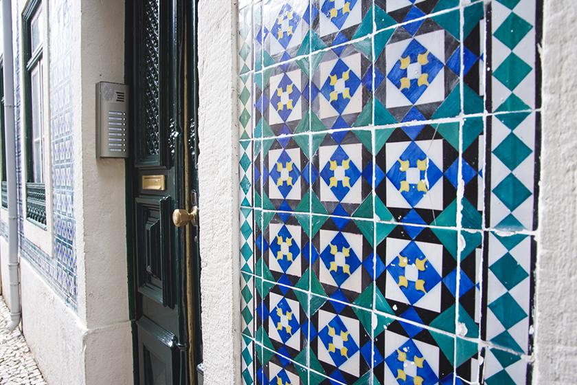 Tiled covered wall