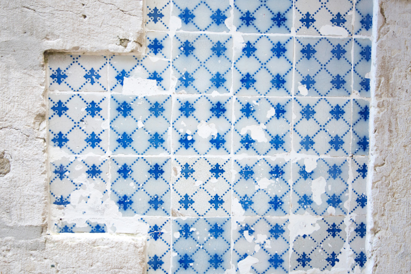 Blue and white tiles