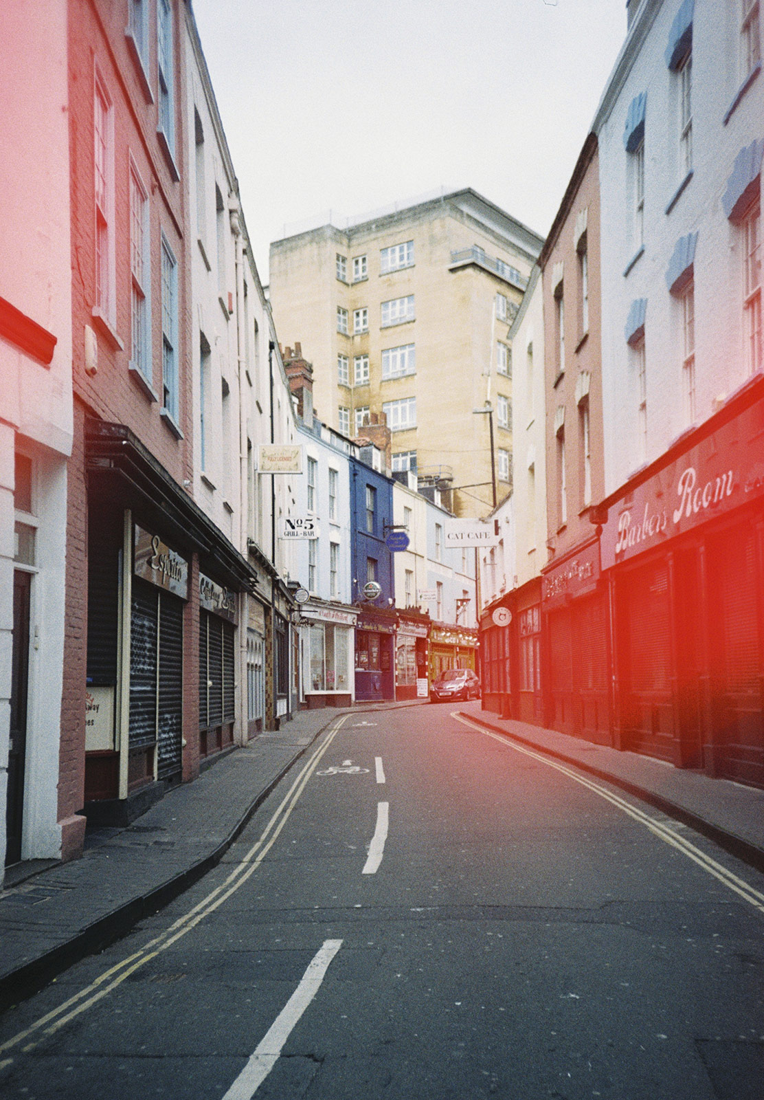 Colourful buildings along street