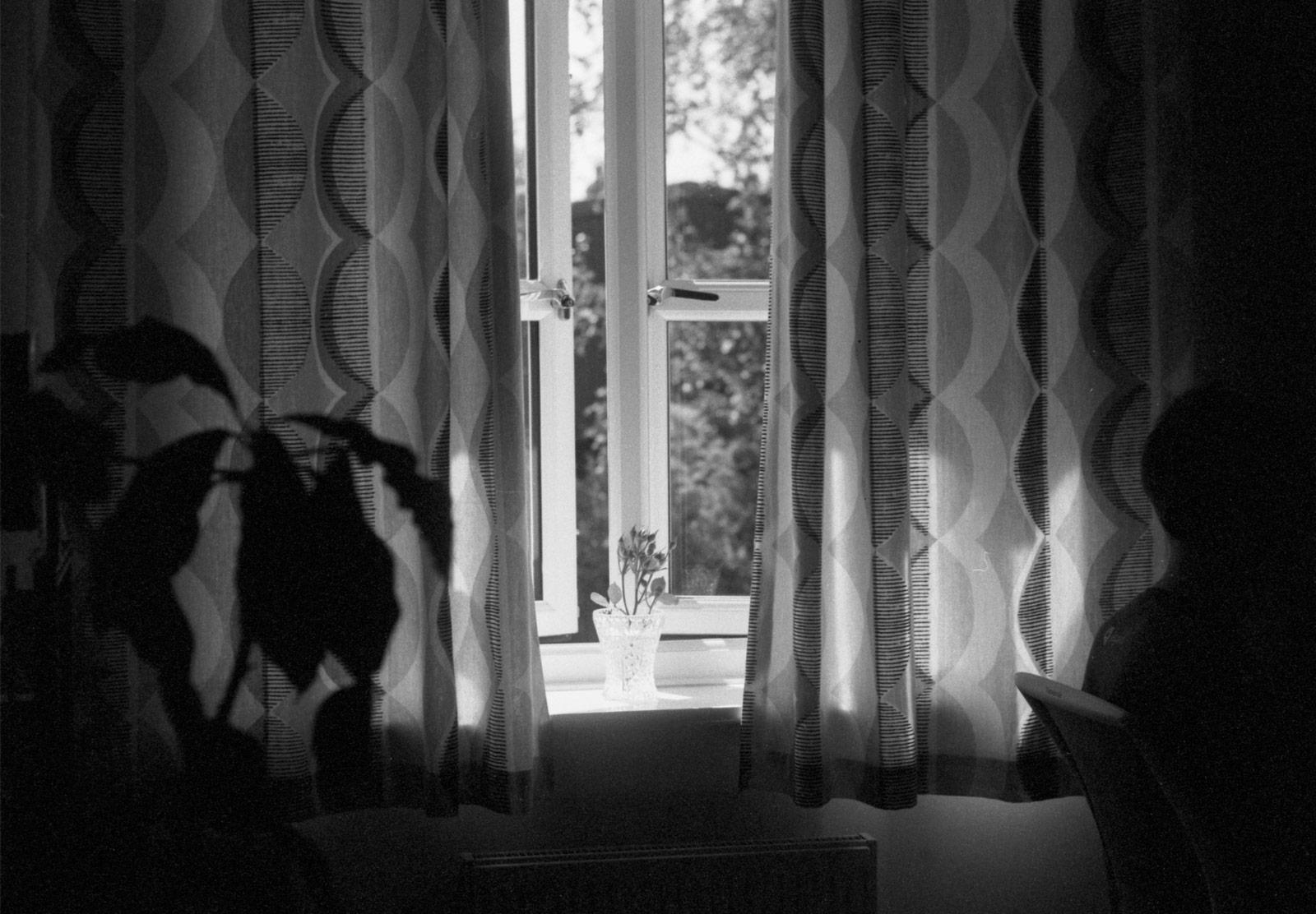 Curtains against window