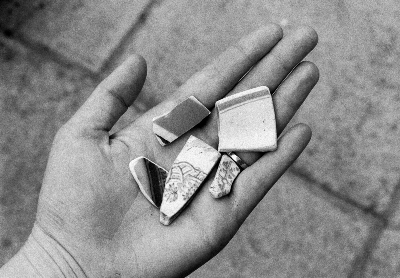 Broken crockery in hand