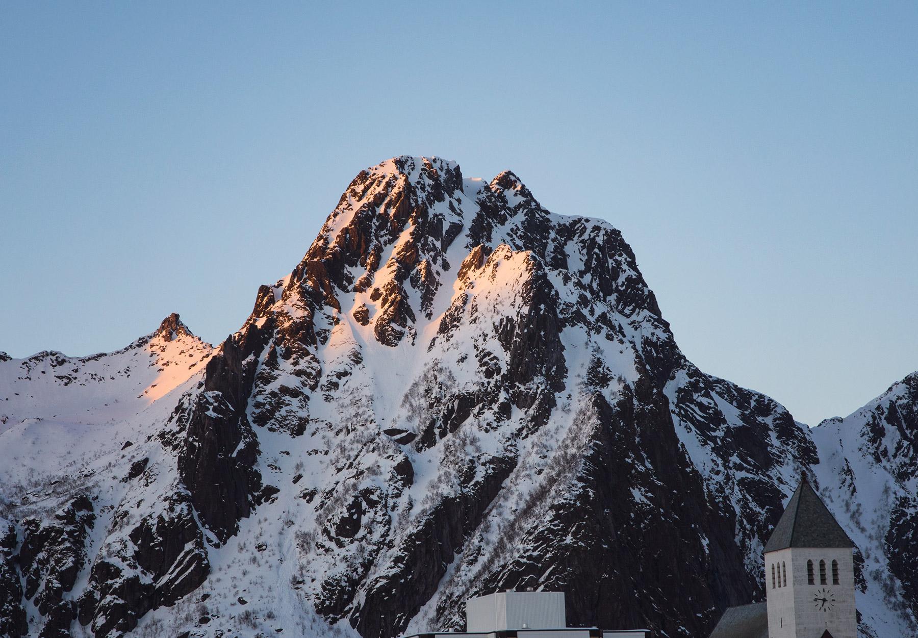 Orange glow on mountain top