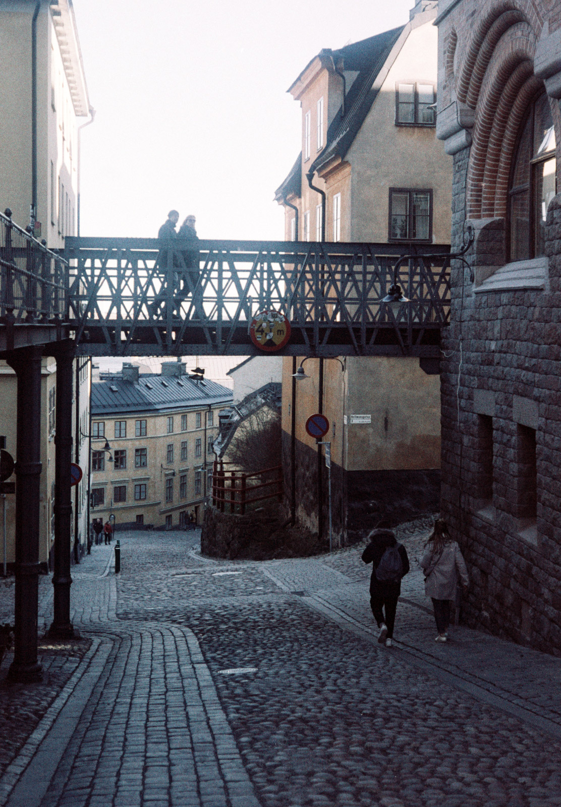 Bridge over cobbled street