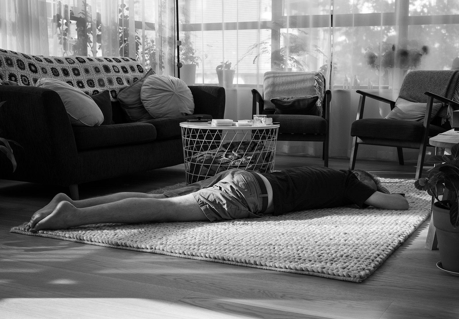 Man sleeping on floor