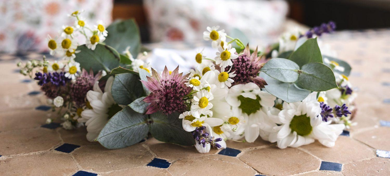Flower crown on table