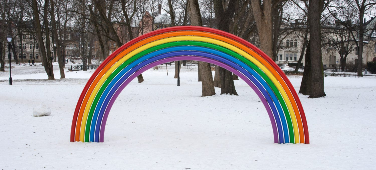 Metal rainbow in the snow