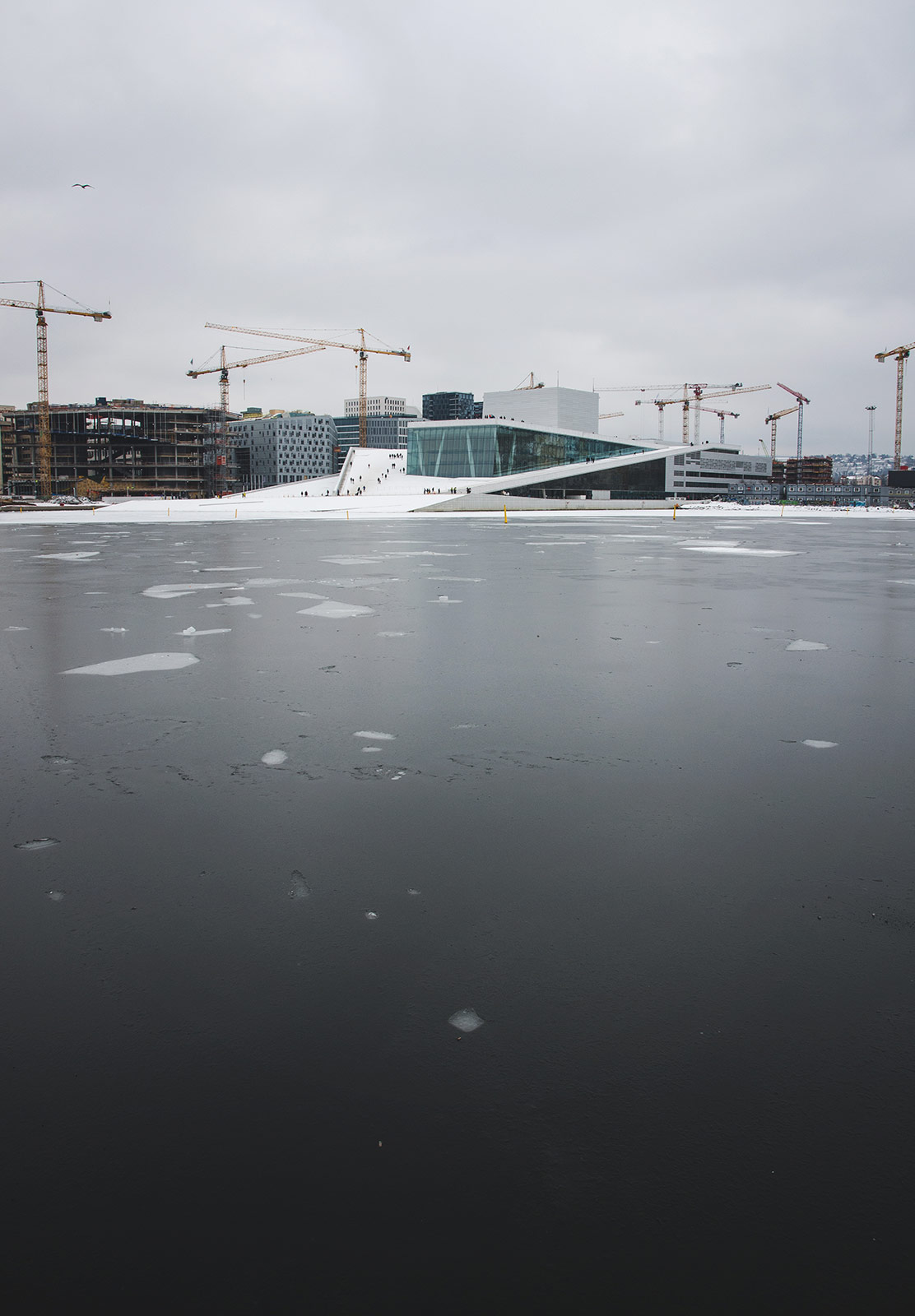 Frozen water and building