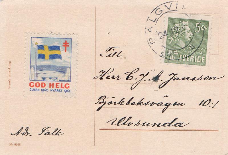 Address and Swedish stamp