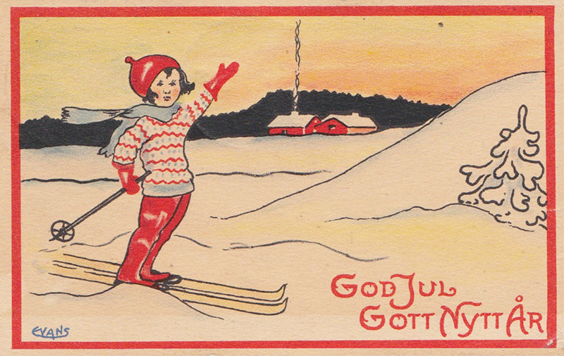 Illustration of a woman in skis