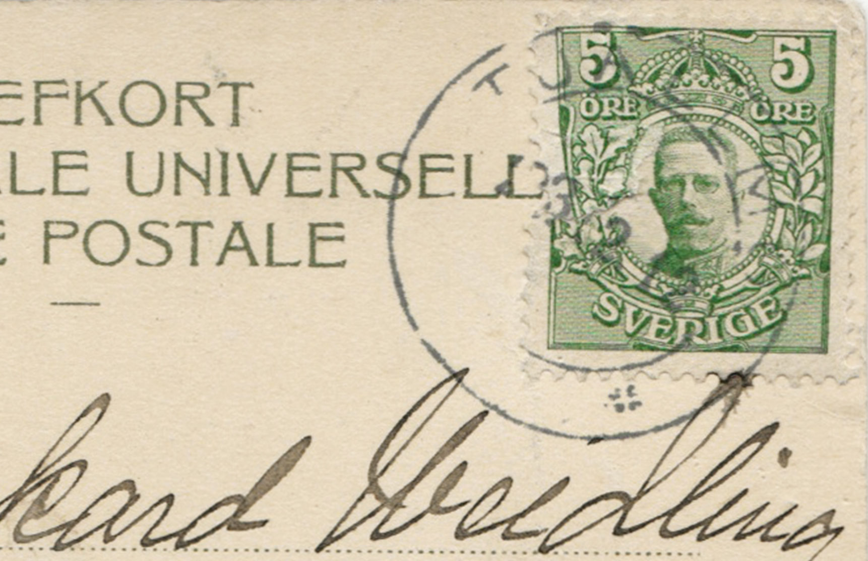 Green stamp and post mark