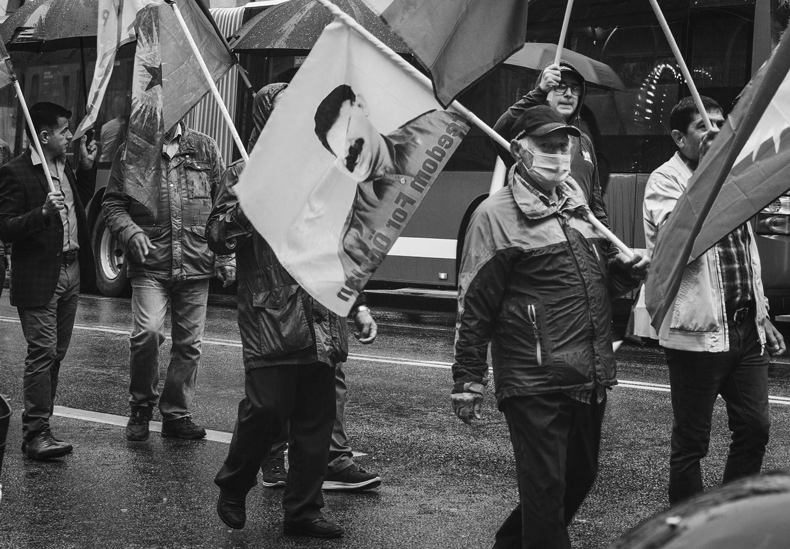 Protester in mask