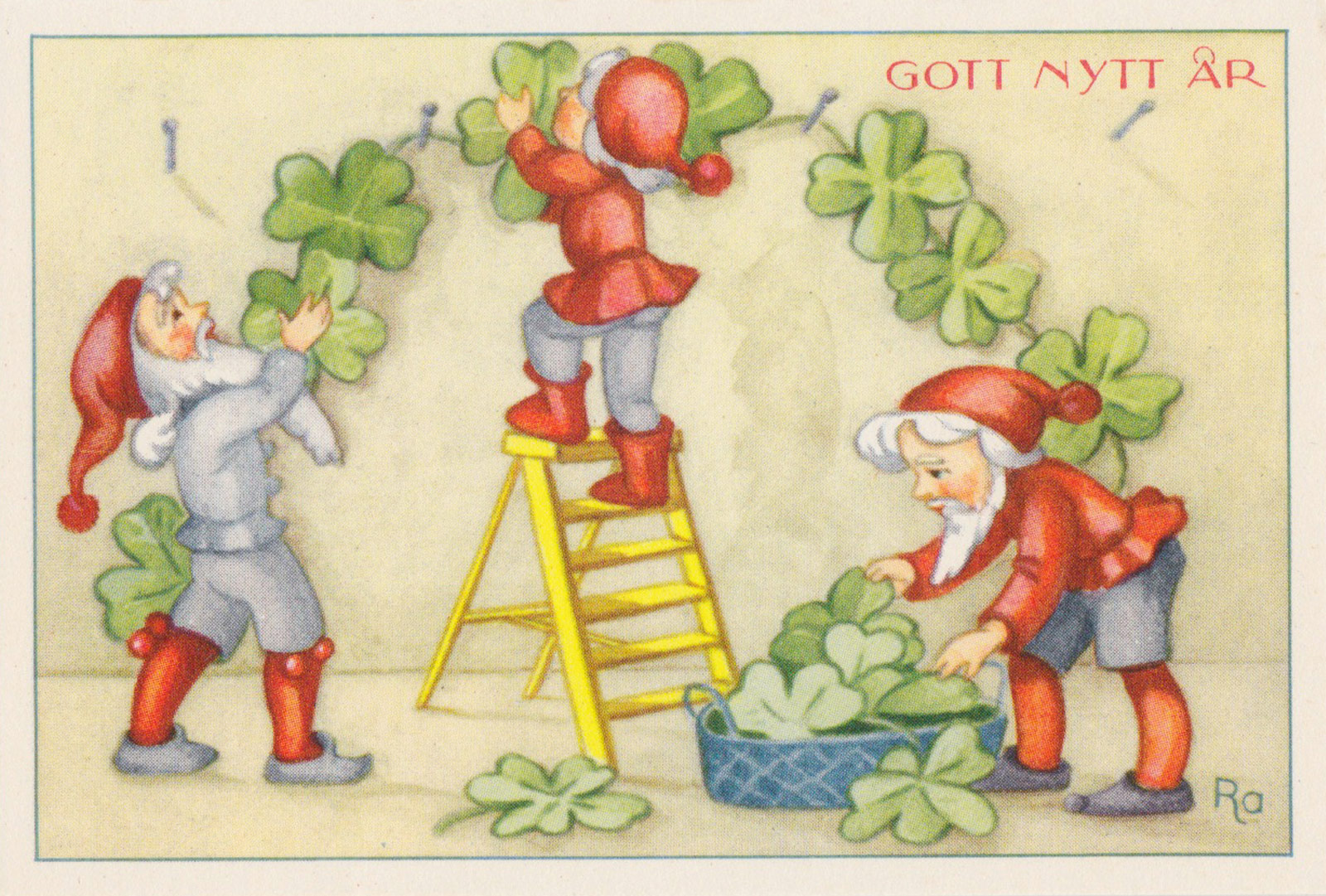 Tomte hanging clovers