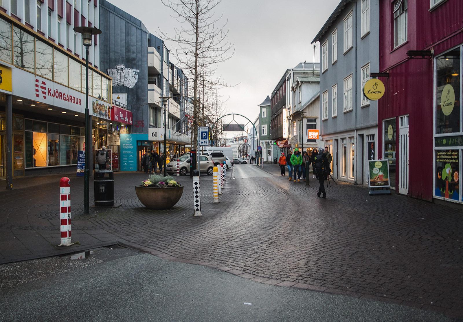 People walking along street