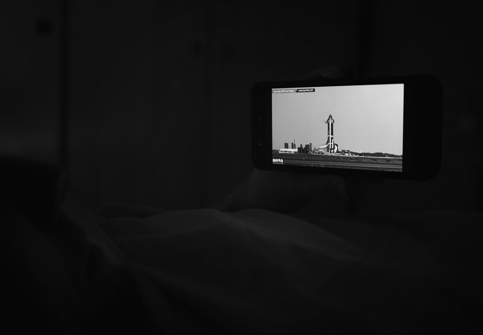 Rocket launch video on phone