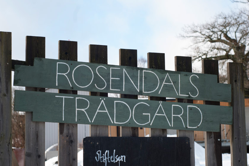 Wood Rosendals Tradgard sign