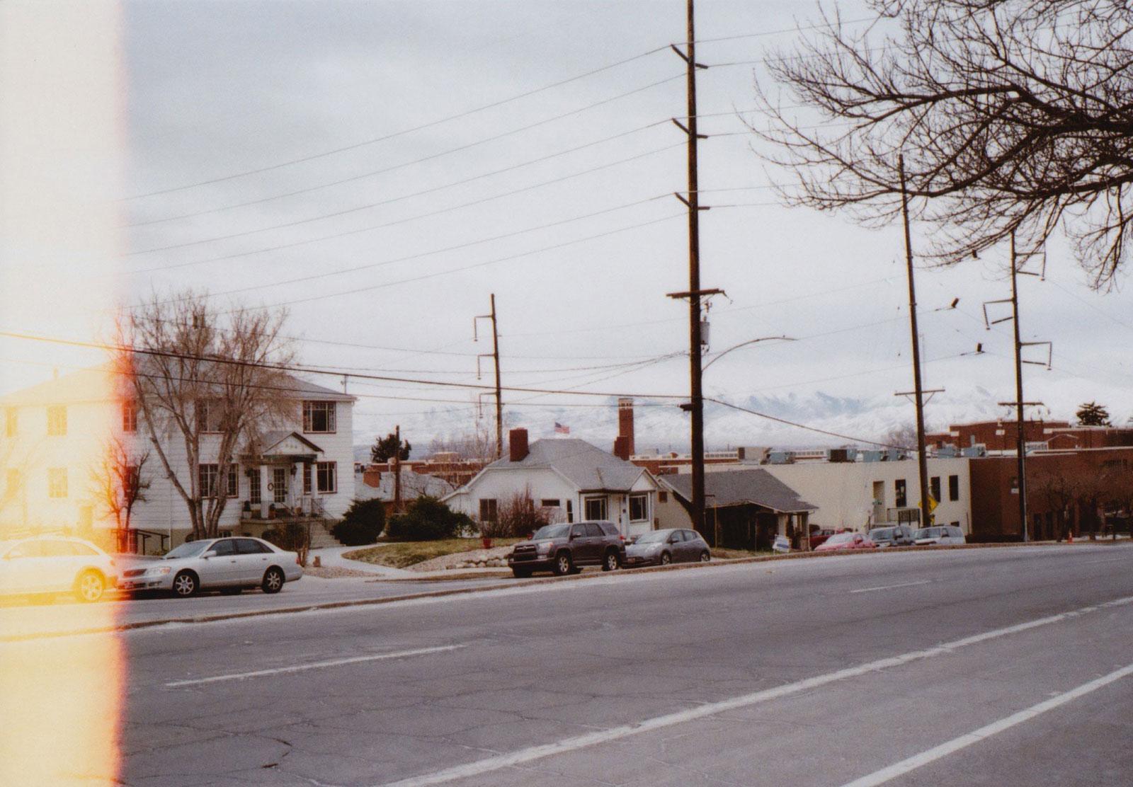 Mountains behind street