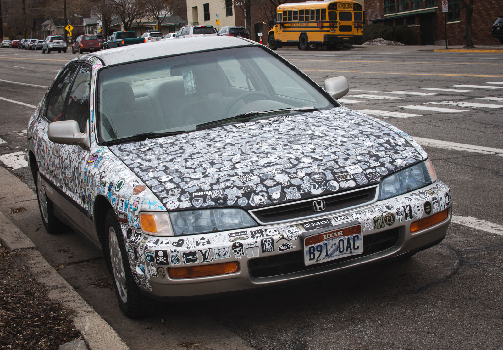 Sticker covered car