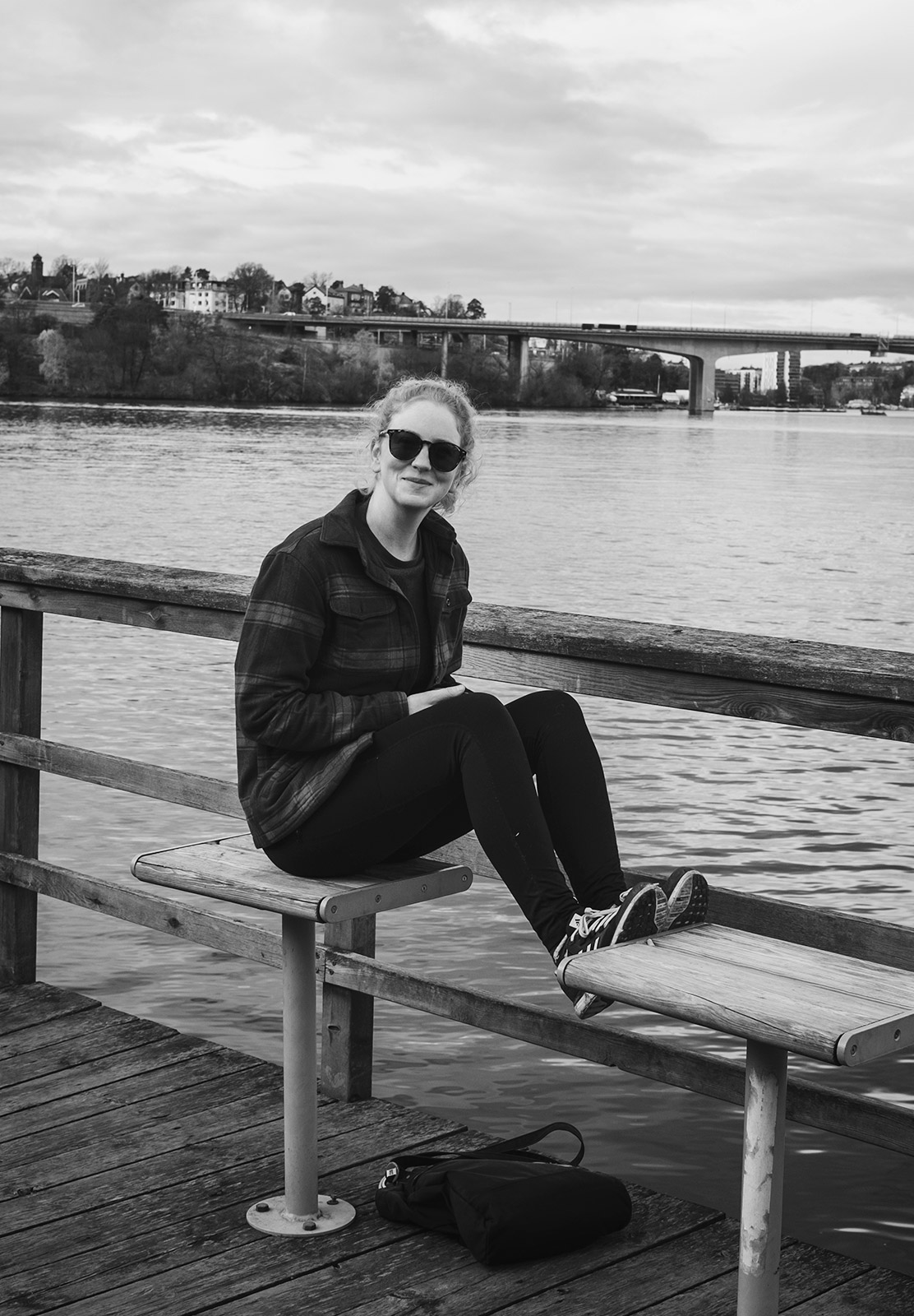Woman sat on bench