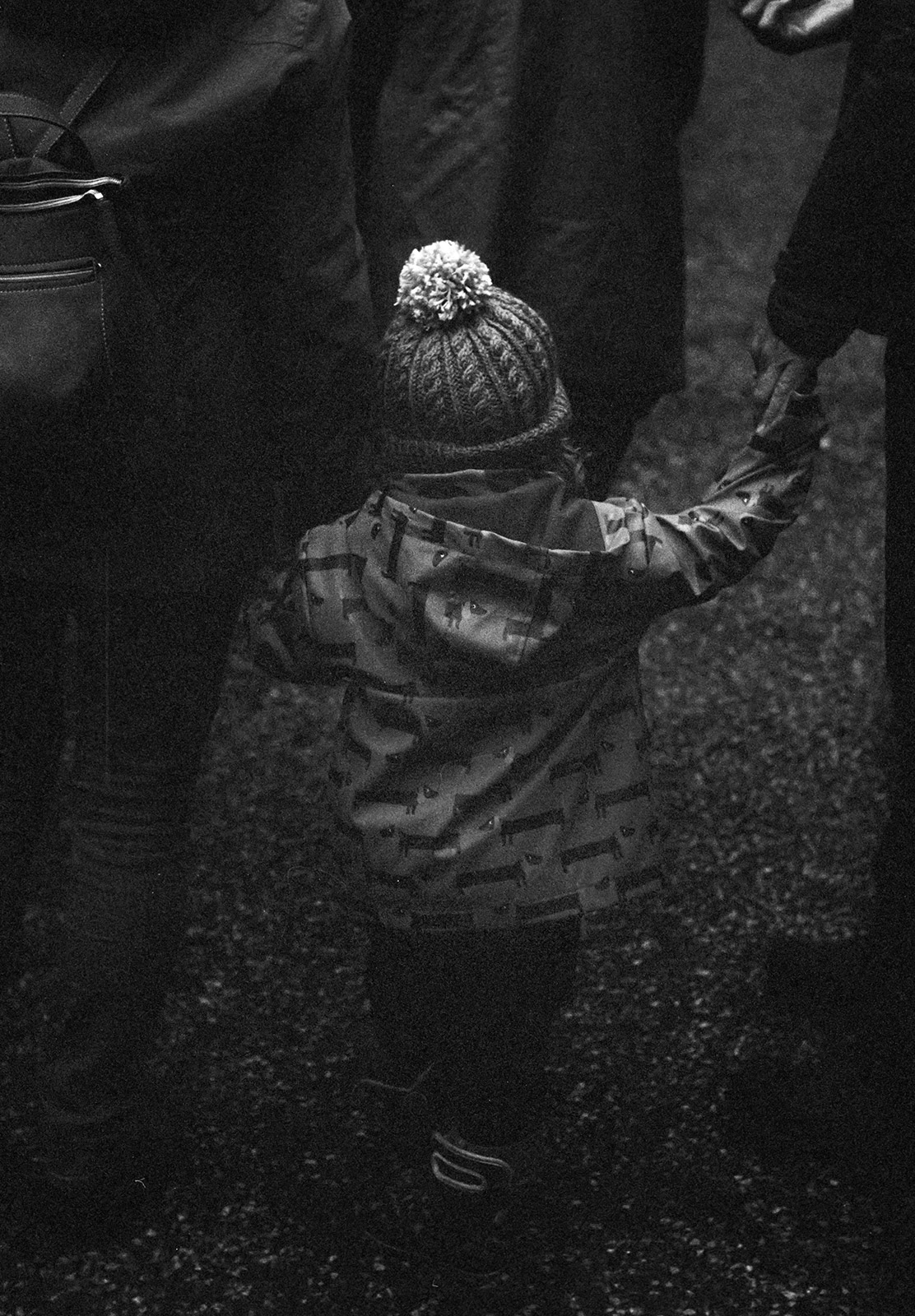 Toddler in bobble hat
