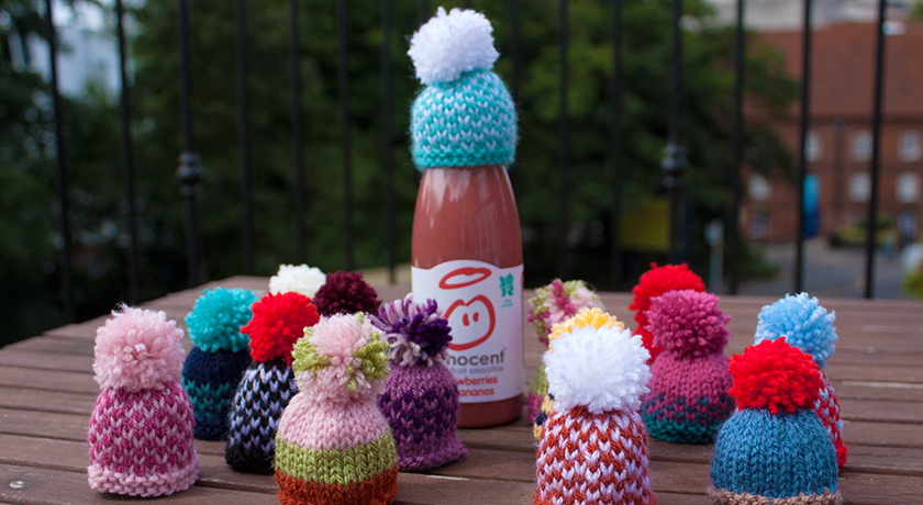 Multi-coloured knitted hats