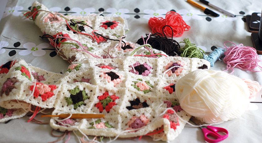 Balls of wool and granny squares