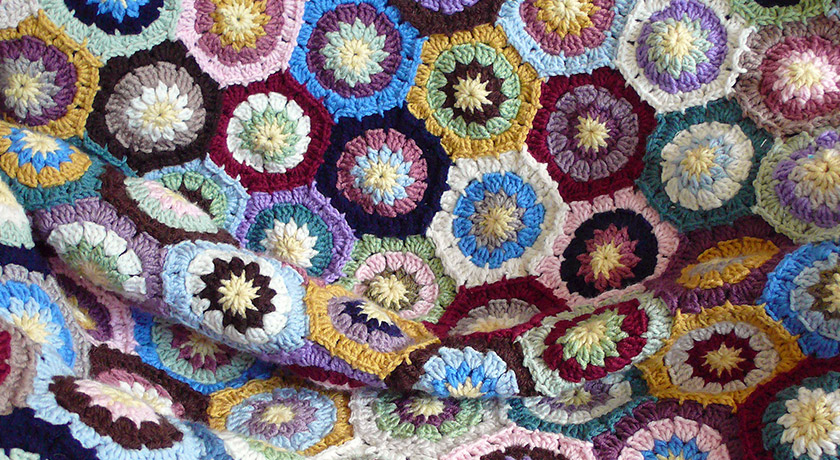 Coloured crochet hexagons