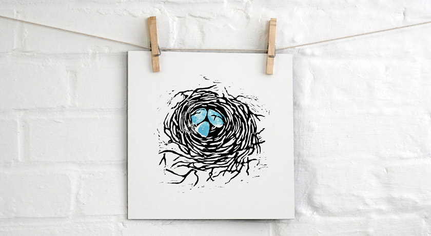 Black and duck egg blue bird's nest print