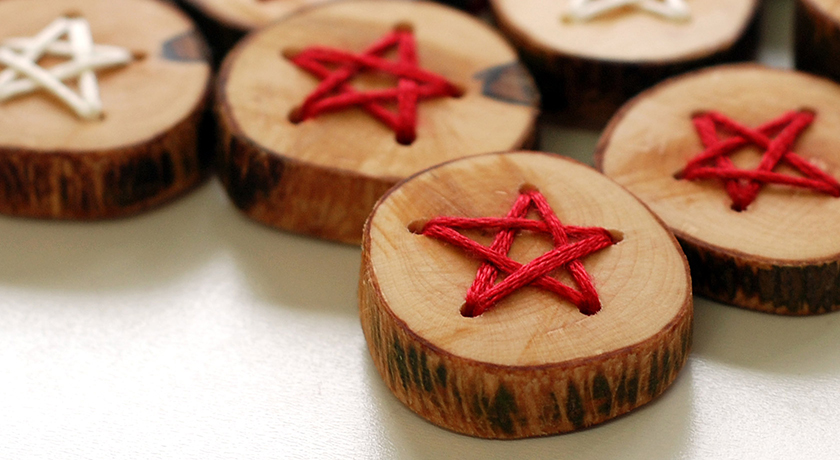 Closeup of star embroidered buttons