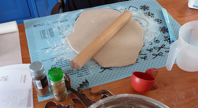 Rolling out salt dough with rolling pin