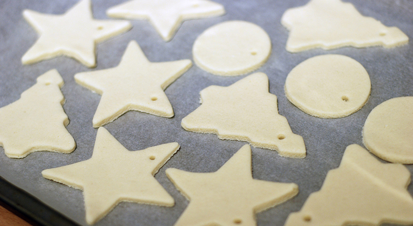 Uncooked salt dough Christmas shapes