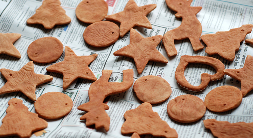 Gingerbread coloured salt dough shapes