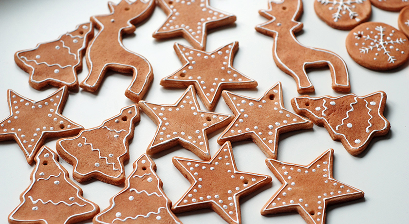Iced gingerbread Christmas ornaments