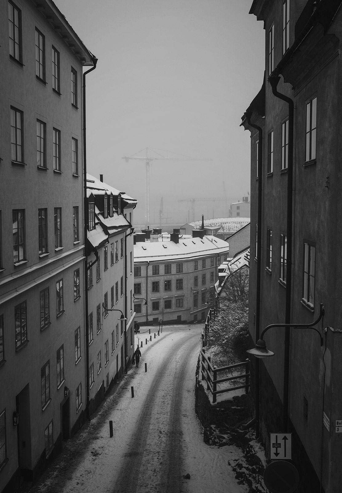 View down on street in the snow