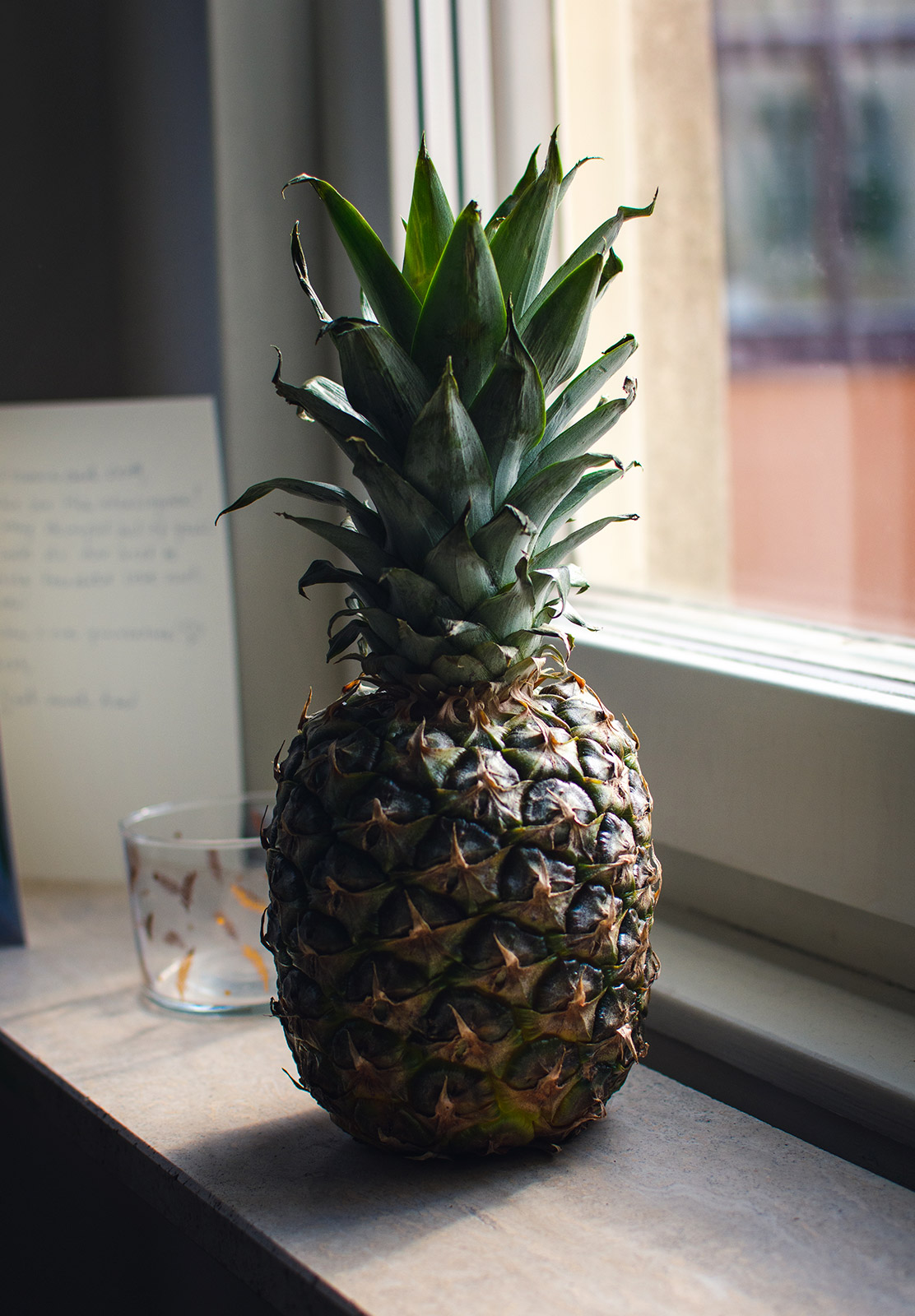 Pineapple on windowsill