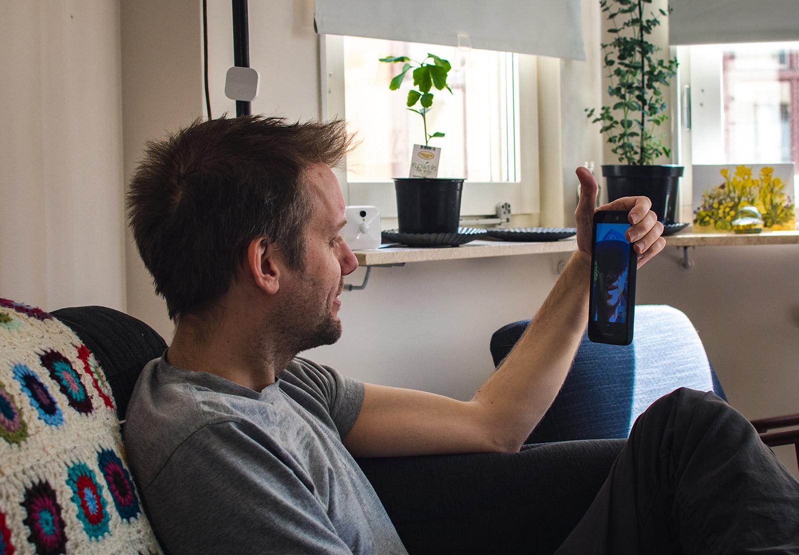 Man talking on video