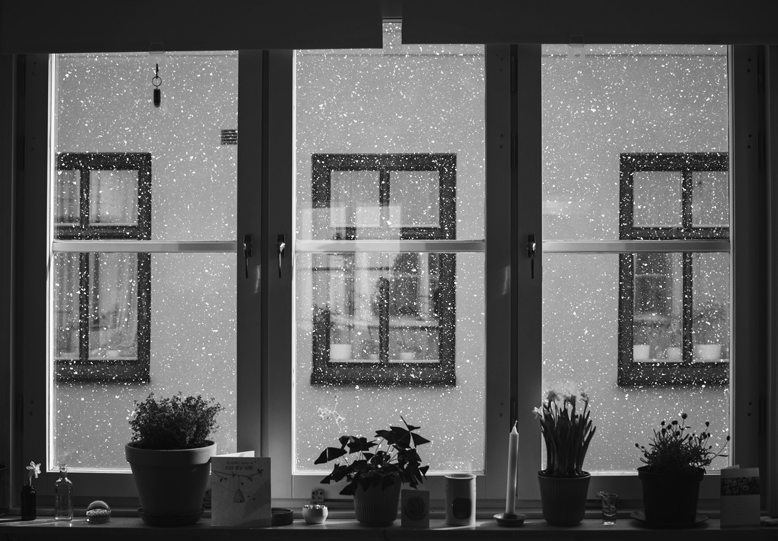 Snow falling outside