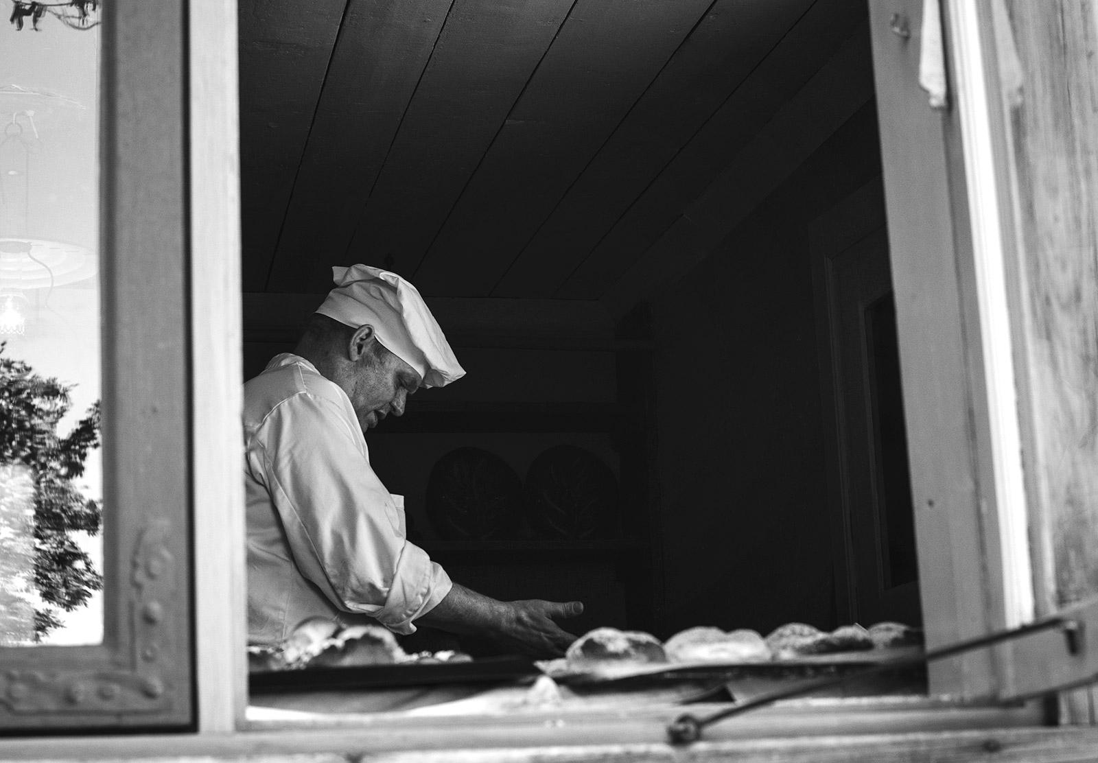 Baker in window